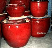 Assorted Glazed Oxblood Pots